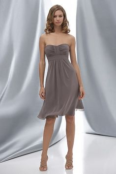 Wtoo #625: Stone crinkle chiffon strapless above the knee length dress with bodice and skirt drapes. Dress also offered in floor-length.