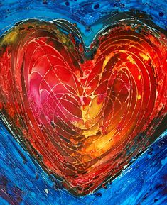 Heart Painting Abstract Art Red Yellow Blue Pink Orange Love Lovers - Always by terracegallery