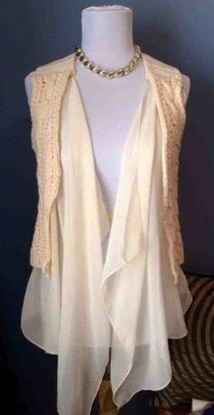 Costa Blanca Crocheted Sleeveless Cardigan
