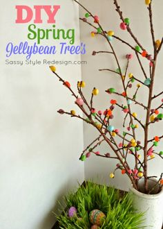 DIY Spring Jellybean Trees by SassyStyleRedesign.com- plus loads of other cute spring/Easter ideas!