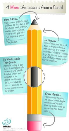 4 Mom Life Lessons from a Pencil  http://imom.com/mom-life/encouragement/4-mom-life-lessons-from-a-pencil/