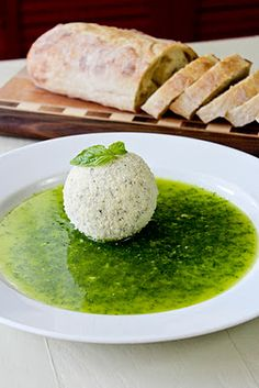 parmesan coated goat cheese with basil oil appetizer!
