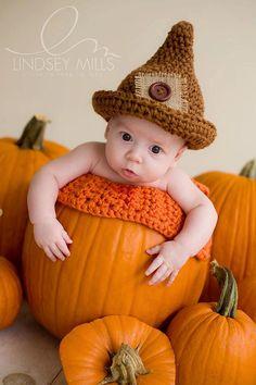 Halloween Baby Hat Newborn Boy Hat Scarecrow Hat by knoodleknits