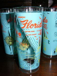 Vintage Set of 4 - 1950's Florida Souvenir Hi-Ball Glasses
