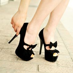Elastic bow fish head high-heeled sandals thick bottom line