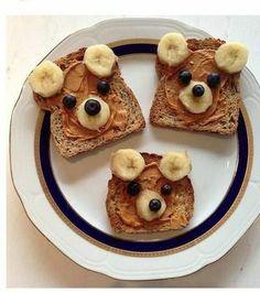 bear toast, teddy bears, simple snacks for kids, simple breakfast ideas kids, cute snack ideas for kids, food art, baby bears, peanut butter, kid breakfast