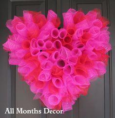 Valentine's Day Hot Pink  Red Spiral Deco Mesh  by AllMonthsDecor