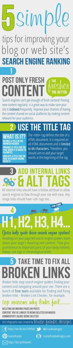 5 simple tips for improving your blog or web site's #infografia #infographic #seo