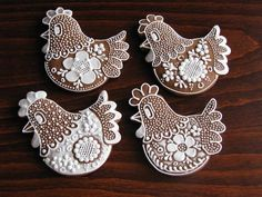 Beautifully decorated chicken cookies