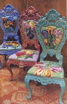 Roccoco Chairs, Kaffe Fassett - beautiful in bohemian dream room