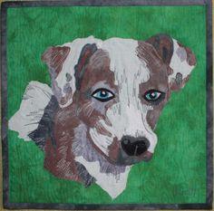 Dog portrait art quilt by Jane Haworth