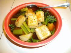 Miso, Kale, Kaboucha Squash Soup with Mochi #vegan