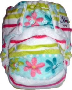 Envious Cloth Nappies - Flower stripes One Size Front Snap Nappy