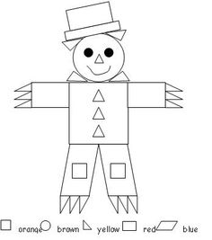 scarecrow color by shape classroom, craft, scarecrow color, colors, fall, color by shapes, educ, activ, scarecrows