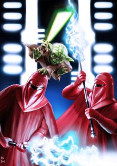 Yoda vs Imperial Guards by *rhymesyndicate