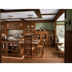 I love all the levels in this craftsman kitchen