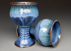 Blue Goblet Pottery Cup Ceramic Chalice by darshanpottery on Etsy, $32.00