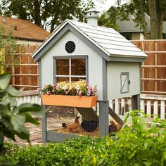 Build a Chicken Coop    If raising chickens is an aspiration of yours, house your flock in this cute chicken coop. Download the plans and learn more from the links below.