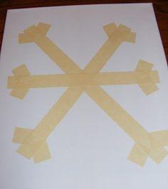 duct tape, diy art, paint, snowflak art, blues, preschool, canvases, kid, masking tape