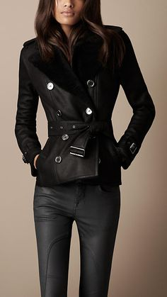 Cropped Shearling Trench Coat