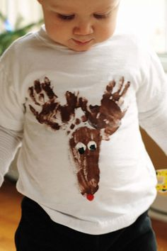 Reindeer T-Shirt - two hand prints, one foot print - too cute for Christmas
