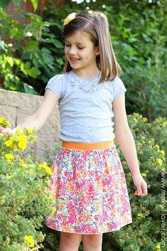 fastest skirt, easi skirt, sew simple girl skirt, craft, skirts, simpl skirt, elast band, easi girl, elastic band skirt tutorial