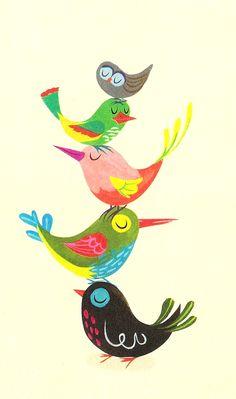 """""""The Brightest, Chattiest Birds."""" Detail from Hallmark card, illustrator unknown."""