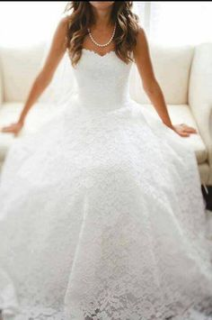 I am absolutely in love with this lace wedding dress! #wedding #lace #dress #glam