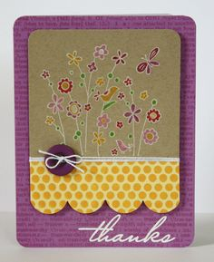 handmade card by Kelly rasmussen: Gallery Idol 2010 ... luv the white line stamped small flowers image ... color with markers on kraft ... luv the layout design ... would probably change the colors so there isn't a soft kraft main panel  with strong purple and yellow ... fun card!