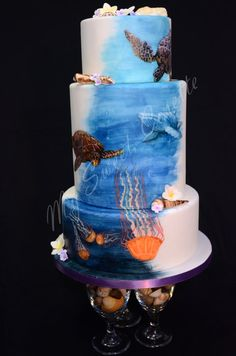 Ocean themed cake. Free hand painting. - by MySweetCosette @ CakesDecor.com - cake decorating website