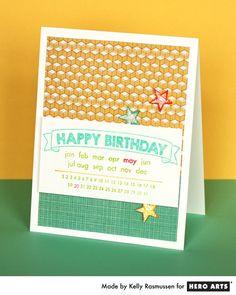 Customize a birthday card with the Happy Birthday Calendar stamp #HeroArts