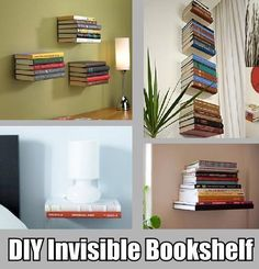 diy invisible floating bookshelf for so many books to read..