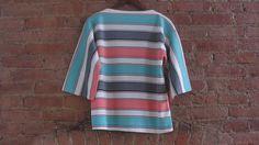Vintage 1960s Boatneck Top  60s Mod Stripe Top  by GildedGypsies