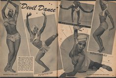 Dancer Evelyn Pilcher gets a full two page spread in Beauty Parade magazine, 1950. The Devil Dance (Malay and India) as she performs it on Broadway. It is always fabulous to find a black performer getting a decent spread in predominantly white magazines. There are still decades to go before seeing such a thing isn't remarkable.