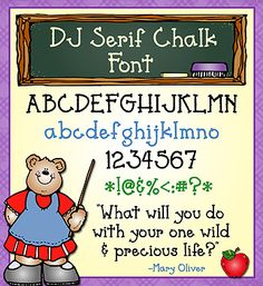 This bold, simple & versatile font will be a NEW favorite in your collection! 'DJ Serif Chalk' will add a smile to your typing whether you're a teacher, a parent or just a creative soul.