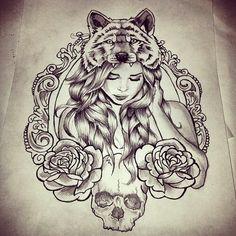 tattoo ideas, girl tattoos, thigh tattoos, wolf tattoos, tattoo flash, rose tyler, art, wolf girl tattoo, new tattoos