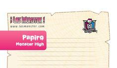 Plantilla de cartas en forma de papiro Monster High