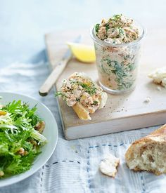 Smoked trout rillettes with frisée and walnut salad recipe | French recipe | Fast recipe - Gourmet Traveller