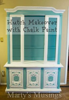 """This hutch looks just like mom's that she wants to give us. Didn't want it at first...now that I know I can do this to it, I""""LL TAKE IT, please.  How to Chalk Paint Furniture from Marty's Musings"""