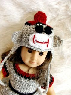18in Sock Monkey Doll Set fits American Girl Doll Crochet Pattern pdf541