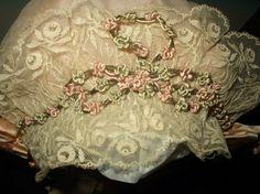 Ribbonwork antique lace bonnet