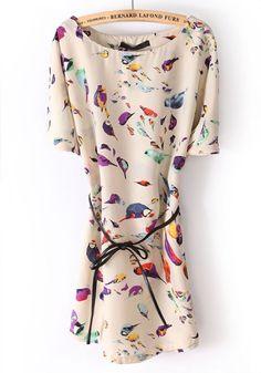 White Little Bird Flowers Irregular Chiffon Dress