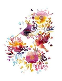 Watercolor Illustration print of birds and flowers by yumiyumi, $20.00