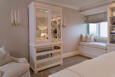 Love the cabinet interior, mirrored furniture, color, cabinet, white, bedrooms, armoires, window seats, bedroom designs