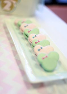 Gorgeous pink and green macarons at a Minnie Mouse Party.  See more party ideas at CatchMyParty.com.  #minniemousepartyideas