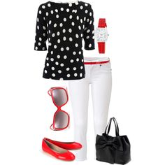 black, red, white polka dot outfit