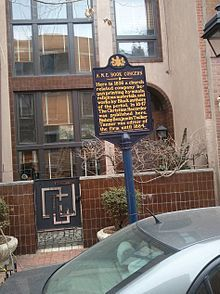 A historical marker celebrating a religious-bookpublishing concern of the African Methodist Episcopal Church in Philadelphia,PA. The African Methodist Episcopal Church, is a predominantly African-American Methodist denomination based in the United States. It was founded by the Rev. Richard Allen in Philadelphia, Pennsylvania, in 1816 from several black Methodist congregations in the mid-Atlantic area that wanted independence from white Methodists. Allen was consecrated its first bishop in 1816.
