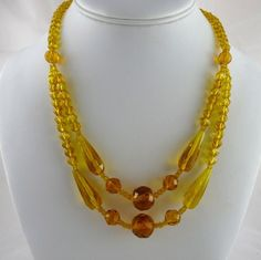 Art Deco Yellow Glass Bead Festoon Necklace