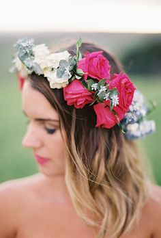 Brides: The Prettiest Wedding Hairstyles with Flower Crowns| A Red and White Rose Flower Crown | Photo by  Feather  Stone