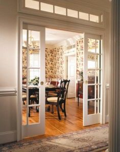 Pocket doors with window to close off dining room